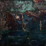 Oil and oxidised metalleaves on canvas