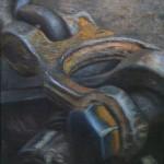 Oil and oxidized metal leaf on canvas. ca. 45 x 70 cm