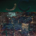 Oil and oxidized metal leaf on canvas