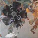 Oil and oxidised metalleaves on canvas. 30 x 30 cm