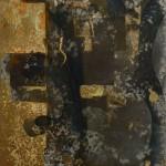 Oil and oxidised metalleaves on canvas. 60 x 45 cm