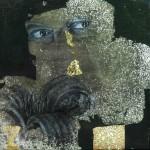 Oil and oxidised metalleaves on canvas. 50 x 50 cm