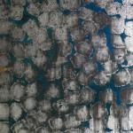 Oil and oxidised metalleaves on canvas. 130 x 100 cm