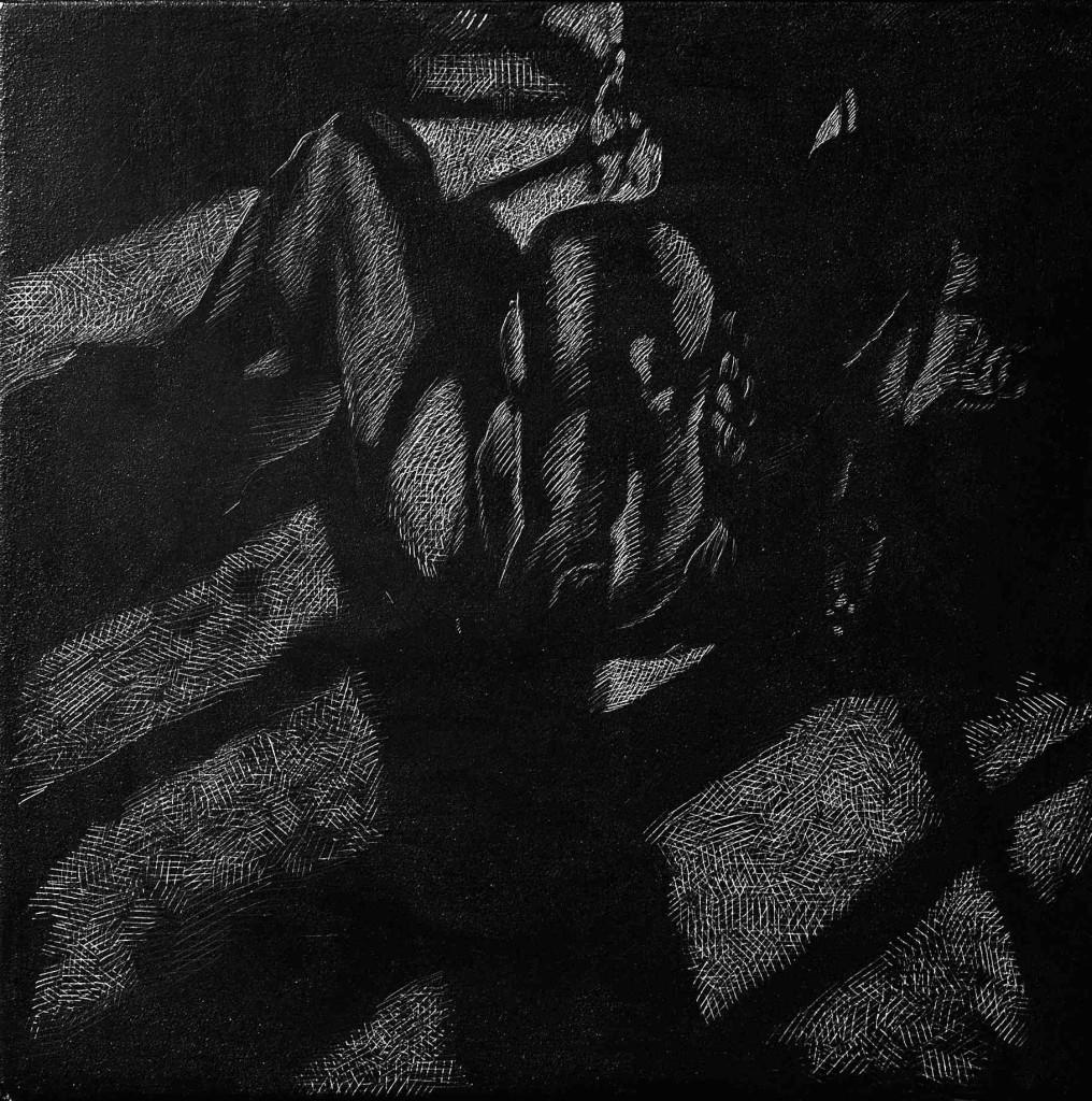 Birgitte Suiten, Sgrafitto, Kridt og grafit på MDF plade. 30 x 30 cm