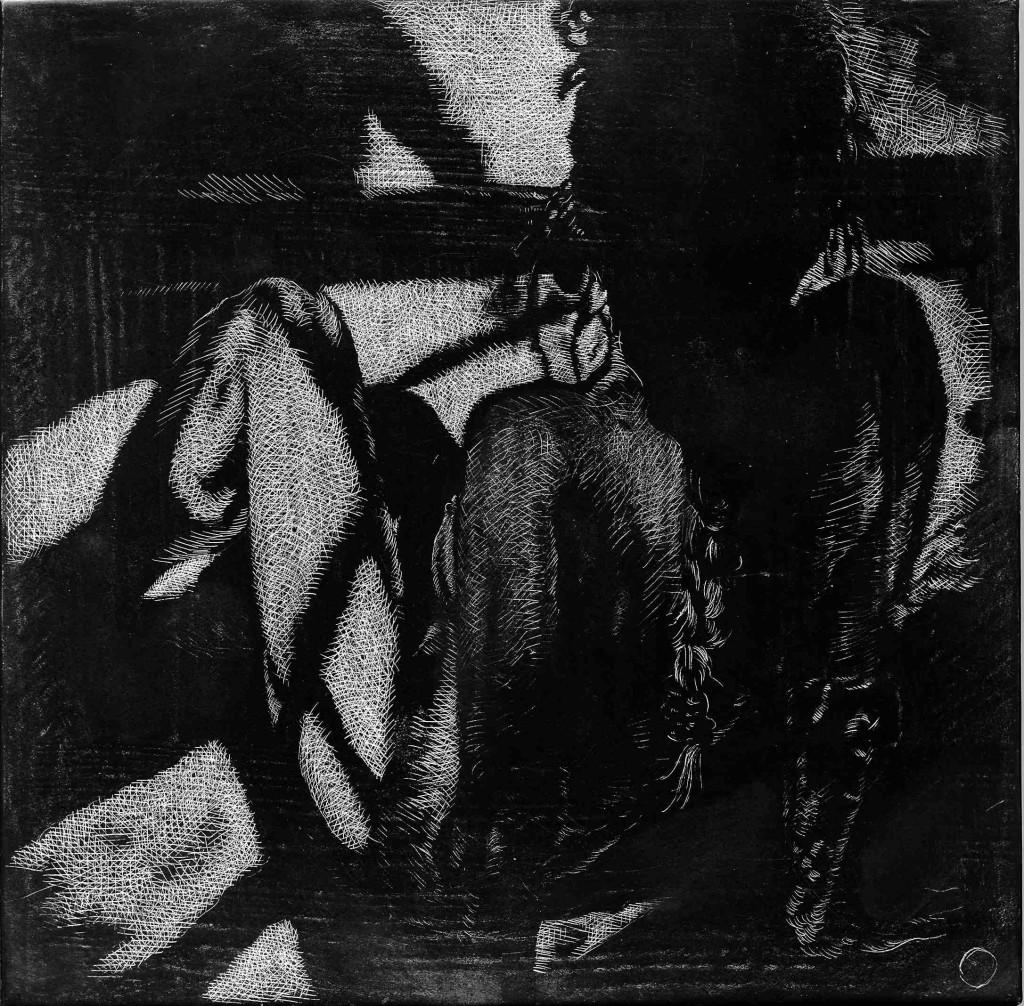 Birgitte Suiten, Sgraffito, Kridt og grafit på MDF plade. 30 x 30 cm